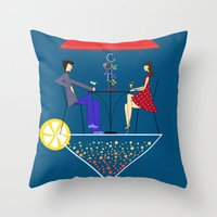 cocktail Throw Pillows featuring Cocktail by Aleksandra Mikolajczak