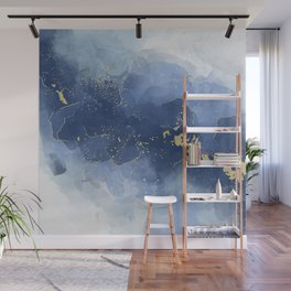 Blue and Gold Alcohol Ink Wall Mural