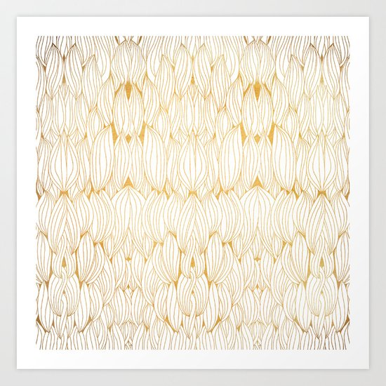 Golden Feathers Art Print