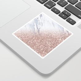 Blush Pink Sparkles on White and Gray Marble V Sticker