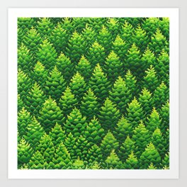 Evergreen Trees Watercolor Painting Art Print