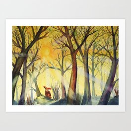 Morning Hare (watercolor painting) Art Print