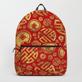 Double Happiness and Chinese coins pattern Backpack