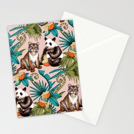 Noodle Jungle Fantasy on pale dusty pink  Stationery Cards
