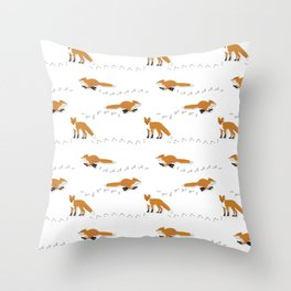 Fox Tracks Throw Pillow