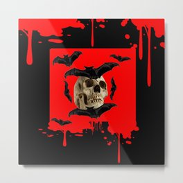 BAT INFESTED HAUNTED SKULL ON BLEEDING HALLOWEEN ART Metal Print