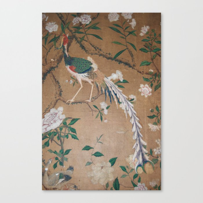 Antique French Chinoiserie in Tan & White Leinwanddruck