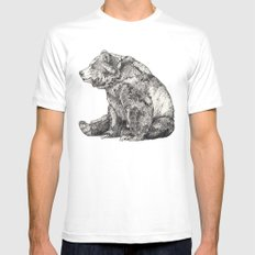 Bear // Graphite LARGE White Mens Fitted Tee