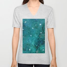 Watercolor galaxy - teal Unisex V-Neck