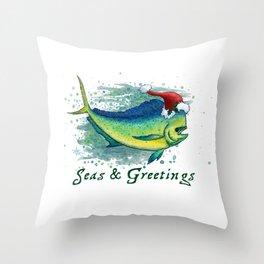 "Seas and Greetings ~ ""Mahi Mahi Splash"" by Amber Marine ~ Watercolor ~ (Copyright 2016) Throw Pillow"