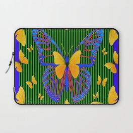 YELLOW BUTTERFLIES  BLUE MODERN ART DESIGN Laptop Sleeve