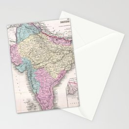 Vintage Map of India (1855) Stationery Cards
