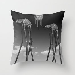 Dali's Mechanical Elephants - Black Sky Throw Pillow
