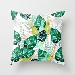 Tropical jungle white Throw Pillow
