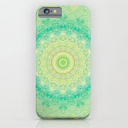 Bright Yellow Aqua Mandala Design iPhone Case