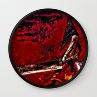 silent hill Wall Clocks featuring Silent Hill Pyramid Head by Joe Misrasi