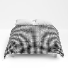 Classic Vintage Black and White Houndstooth Pattern Comforters