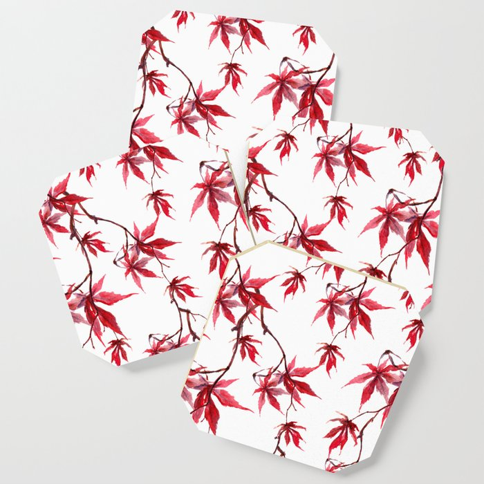 Watercolor Botanical Red Japanese Maple Leaves on Solid White Background Coaster