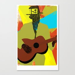 Abstract Halftone Bluesman Canvas Print