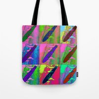 led zeppelin Tote Bags featuring Zeppelin Warhol by Sara PixelPixie