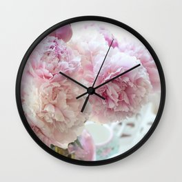 Dreamy Shabby Chic Pastel Pink White Peonies  Wall Clock
