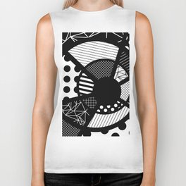Twisted Web - Black And White, Patterned, Abstract Art Biker Tank