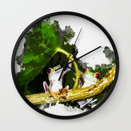 Two Frogs Under a Leaf Wall Clock