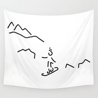 skiing Wall Tapestries featuring snowboarder skiing winter sports by Lineamentum