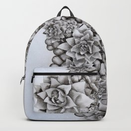 Watercolour pebbles and succulents Backpack