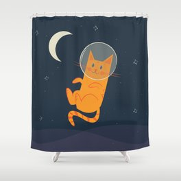 Floating Space Cat Shower Curtain