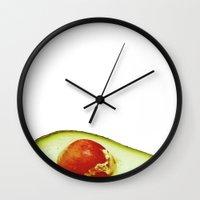 avocado Wall Clocks featuring Avocado by Olivier P.