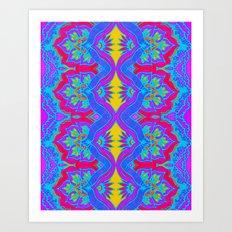 Purple Flame Flower Pattern Art Print