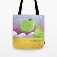 dinosaur Tote Bags featuring dinosaur by Daniel Castrogiovanni