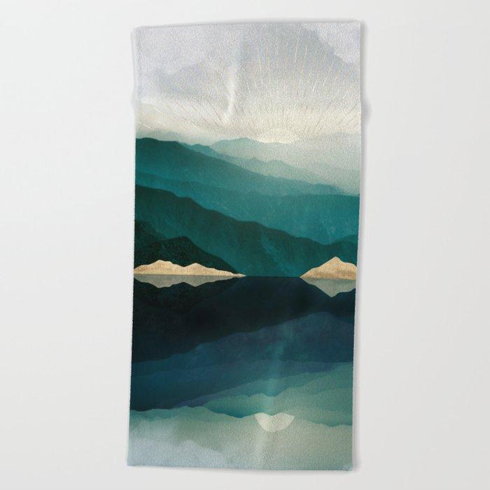 Waters Edge Reflection Beach Towel