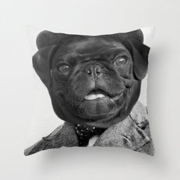 Sir Winston Pug Churchill Throw Pillow