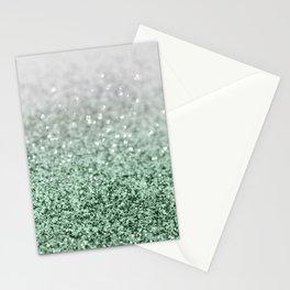 Silver Pastel Mint Green Ocean Glitter Glam #1 (Faux Glitter) #shiny #decor #art #society6 Stationery Cards