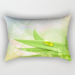 pastel colors with green grass and dew Rectangular Pillow