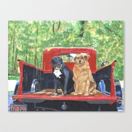 Antique Truck with Dogs Canvas Print