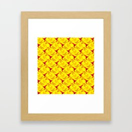 Pretty beautiful cute red hummingbirds, delicate twigs with little leaves yellow pattern. Gift ideas Framed Art Print