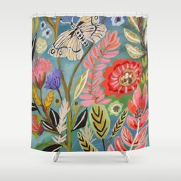 Butterfly Floral Shower Curtain