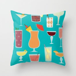 Retro Cocktails Throw Pillow