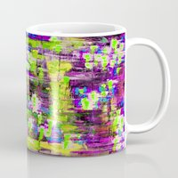 boyfriend Mugs featuring BOYFRIEND SWEATS(violet & lime) by Glint & Lime Art