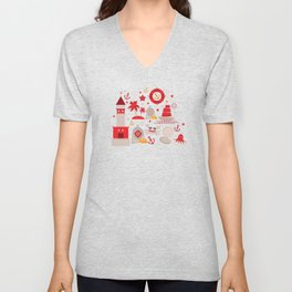 pattern with sea icons on white background. Seamless pattern. Red and gray Unisex V-Neck