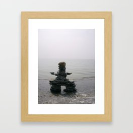 Stone Inukshuk on The Shore Looking Out Over Calm Water ~ A Meaningful Messenger Framed Art Print