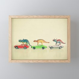 Dinosaurs Ride Cars Framed Mini Art Print