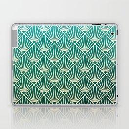 Teal golden Art Deco pattern Laptop & iPad Skin