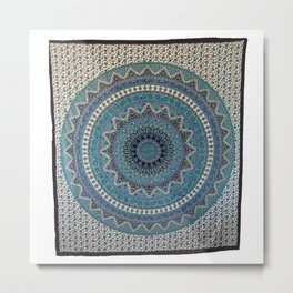 Indian Star Mandala Tapestry Wall Hanging Metal Print