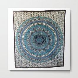 Indian Star Mandala Tapestry Wall Hanging Metal Print