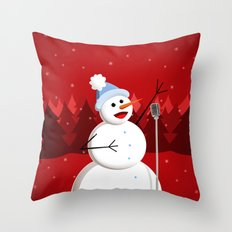 Happy Singing Snowman Throw Pillow