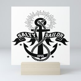 Salty sailor sailor sea bear sailing ship gift Mini Art Print